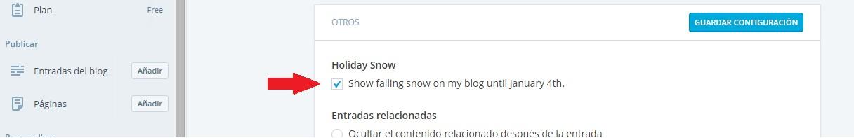 wordpress configuración nieve