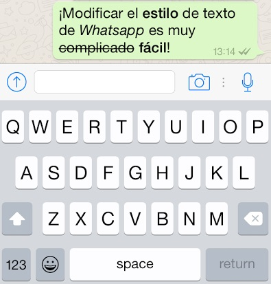 texto modificado en whatsapp