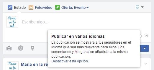 facebook publicar en varios idiomas