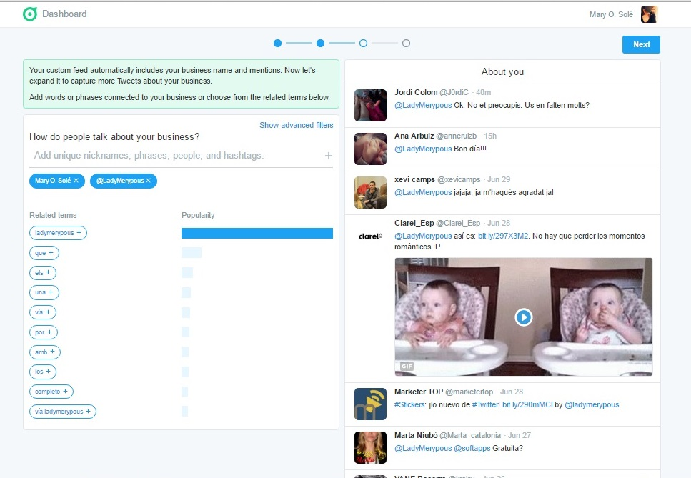 twitter dashboard about you