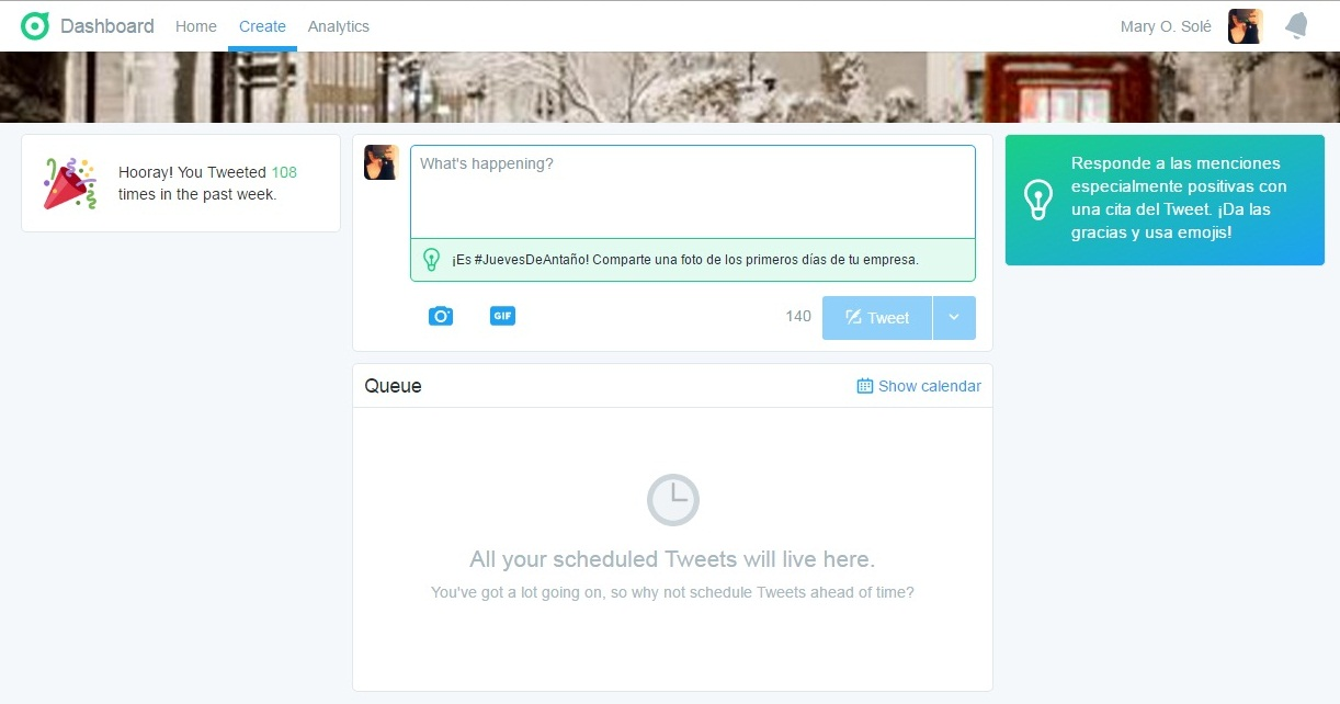 twitter dashboard sugerencia