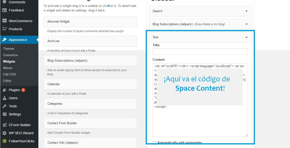 space content wordpress