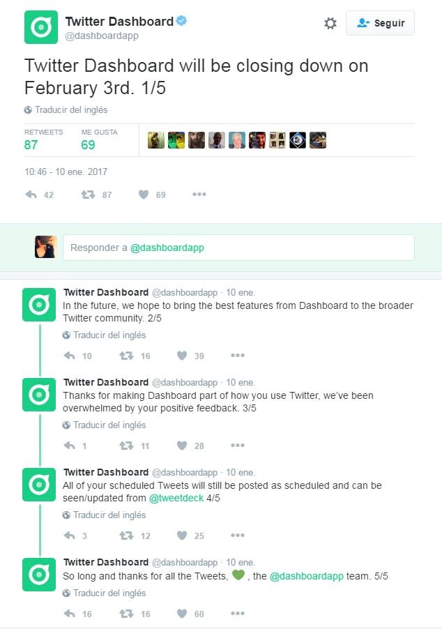 twitter dashboard deja de dar servicio