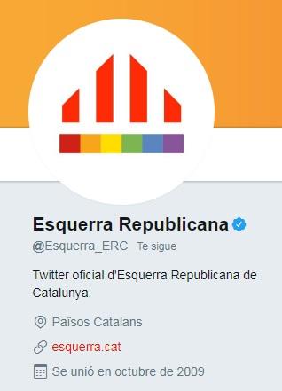 El partido político Esquerra Republicana muestra su apoyo al Pride 2017 añadiendo un arcoíris a su foto de perfil en Twitter | Maria en la red