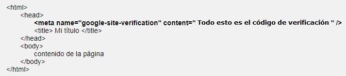 Ejemplo de donde debe ir el codigo de verificacion para configurar Google Search Console