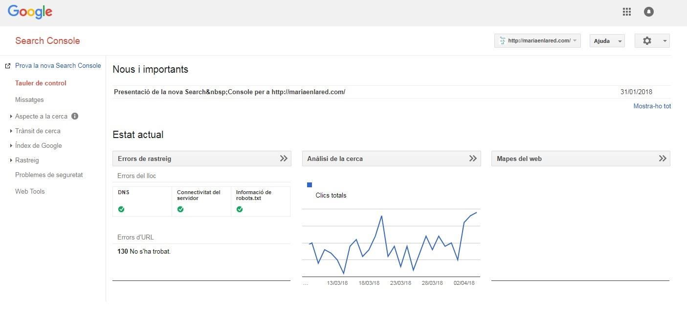 Google Search Console Maria en la red