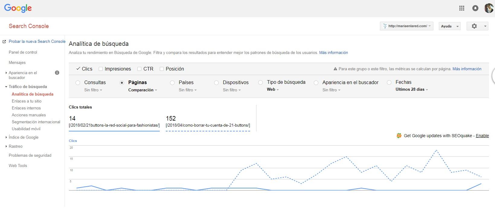 Google Search Console busquedas en Google comparacion de paginas