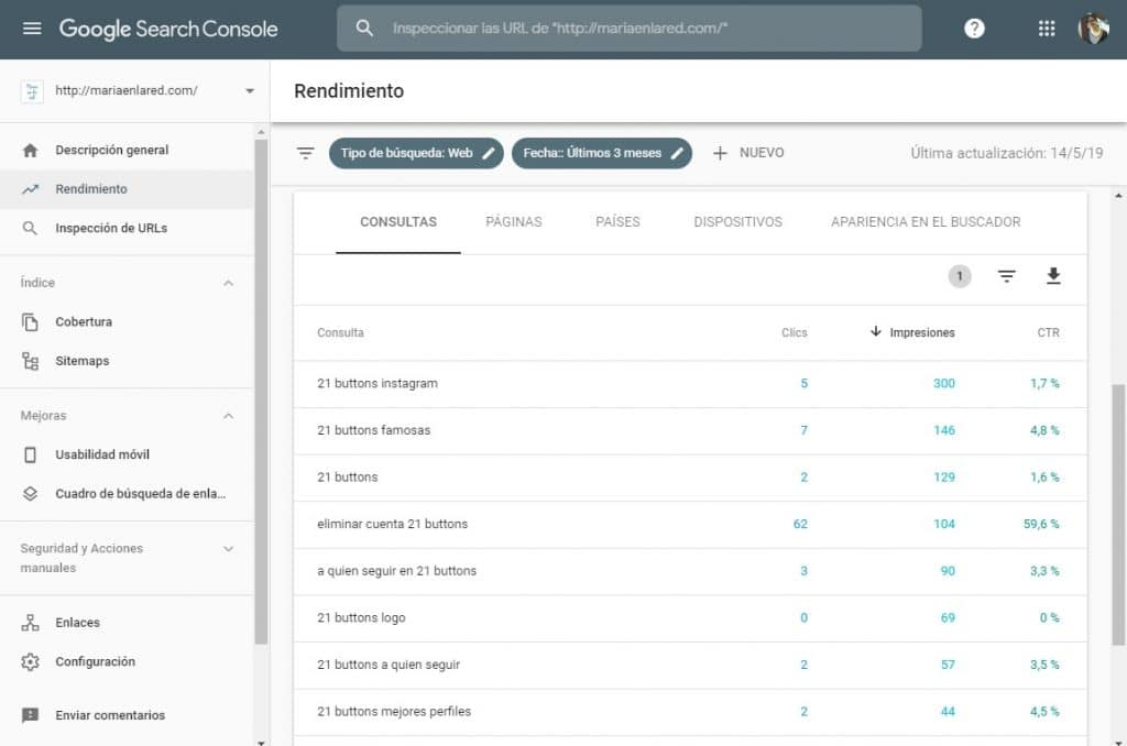 Cómo ver las búsquedas orgánicas en Google Search Console 1