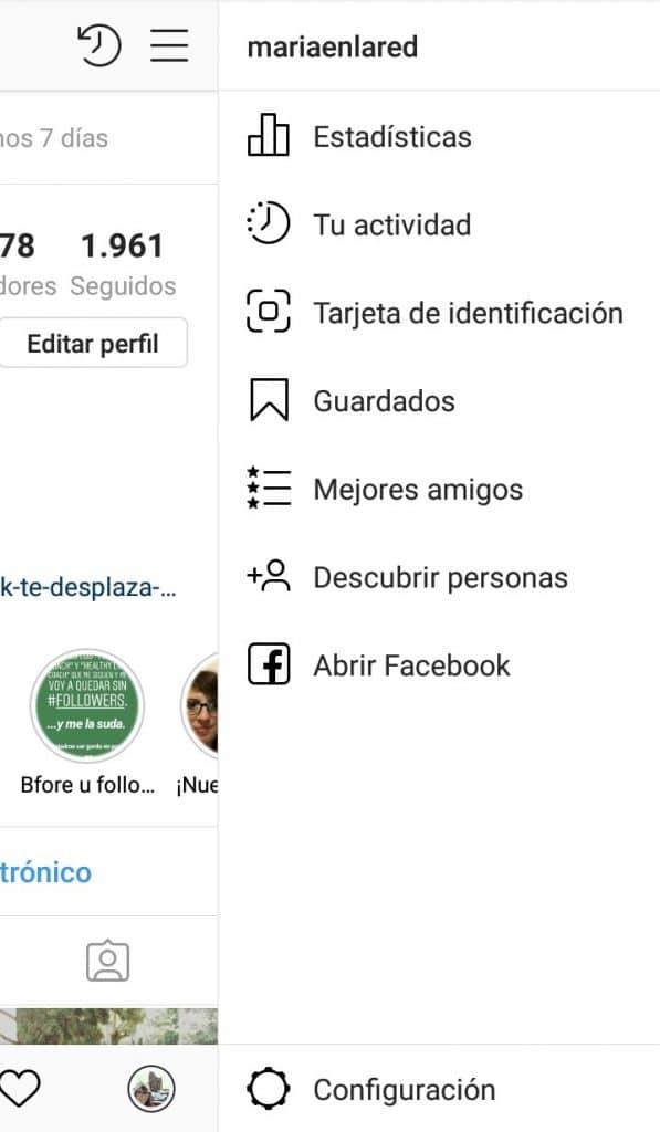 Acceso a la configuración de tu perfil de Instagram para saber cuánto tiempo pasas en la aplicación