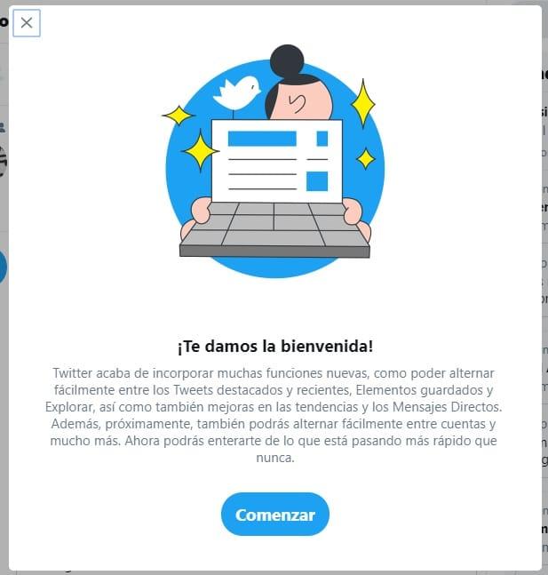 Cuadro de diálogo de Twitter en el que resume las nuevas funcionalidades, como la de gestionar más de una cuenta desde tu ordenador.