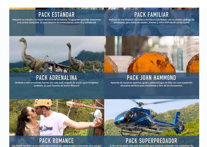 Packs de viaje en Jurassic World