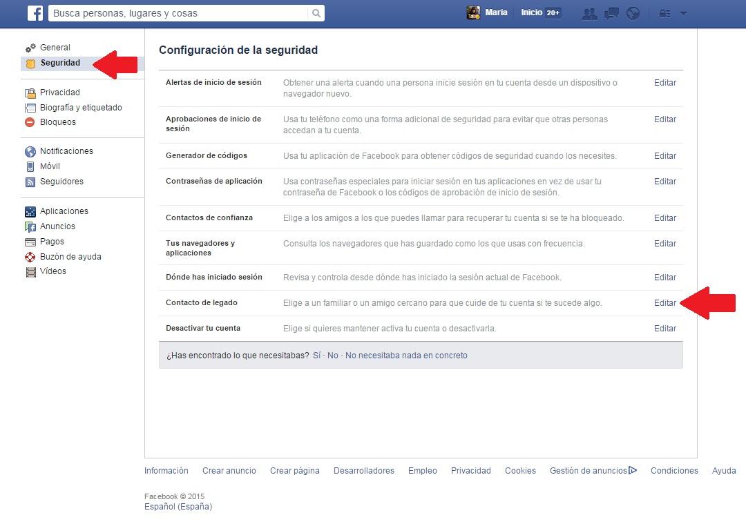 Legado en Facebook |Maria en la red