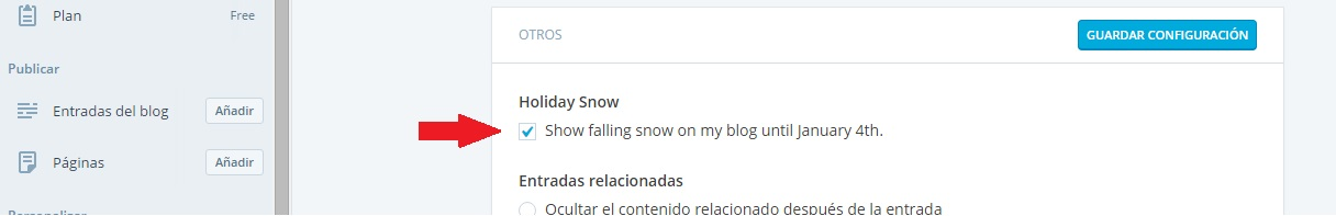 wordpress configuración nieve
