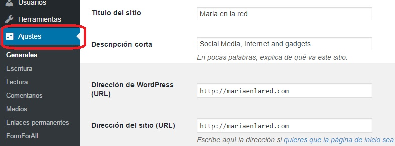 Nieve en WordPress - Ajustes | Maria en la red