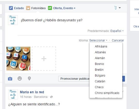 facebook page publicación multiidioma idiomas