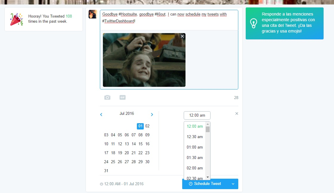 twitter dashboard schedule