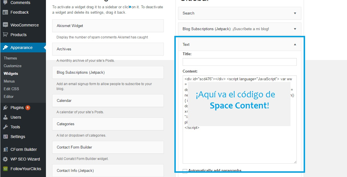space content wordpress