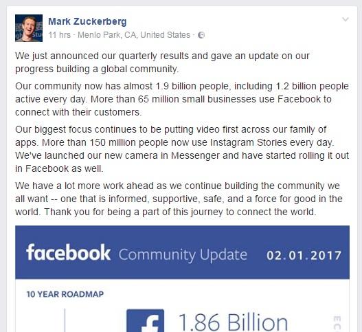 mark zuckerberg facbeook post