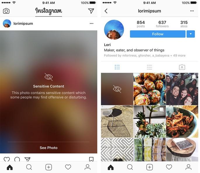 Ejemplo del nuevo filtro de censura en Instagram