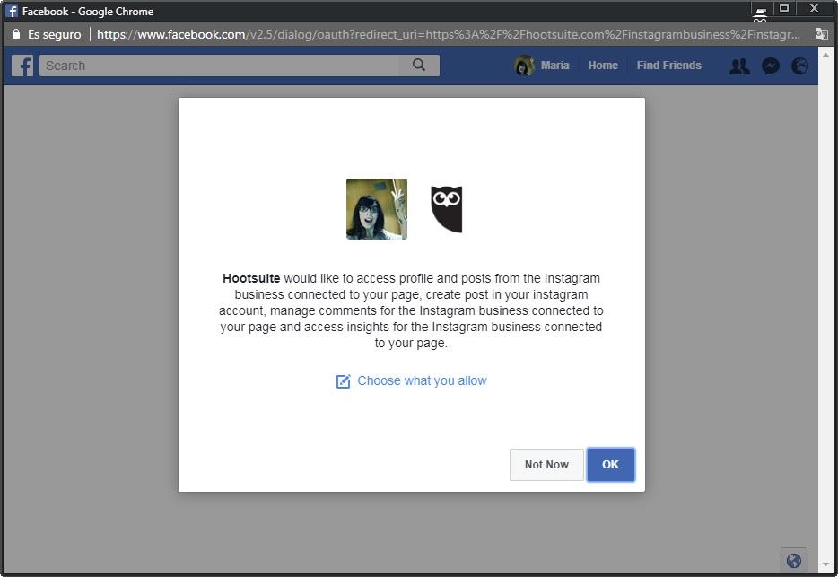 Autentificación en Facebook para publicar en Instagram desde Facebook | Maria en la red