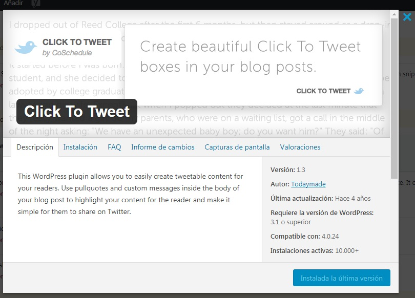 Click to Tweet | Plugins imprescindibles para WordPress | Maria en la red