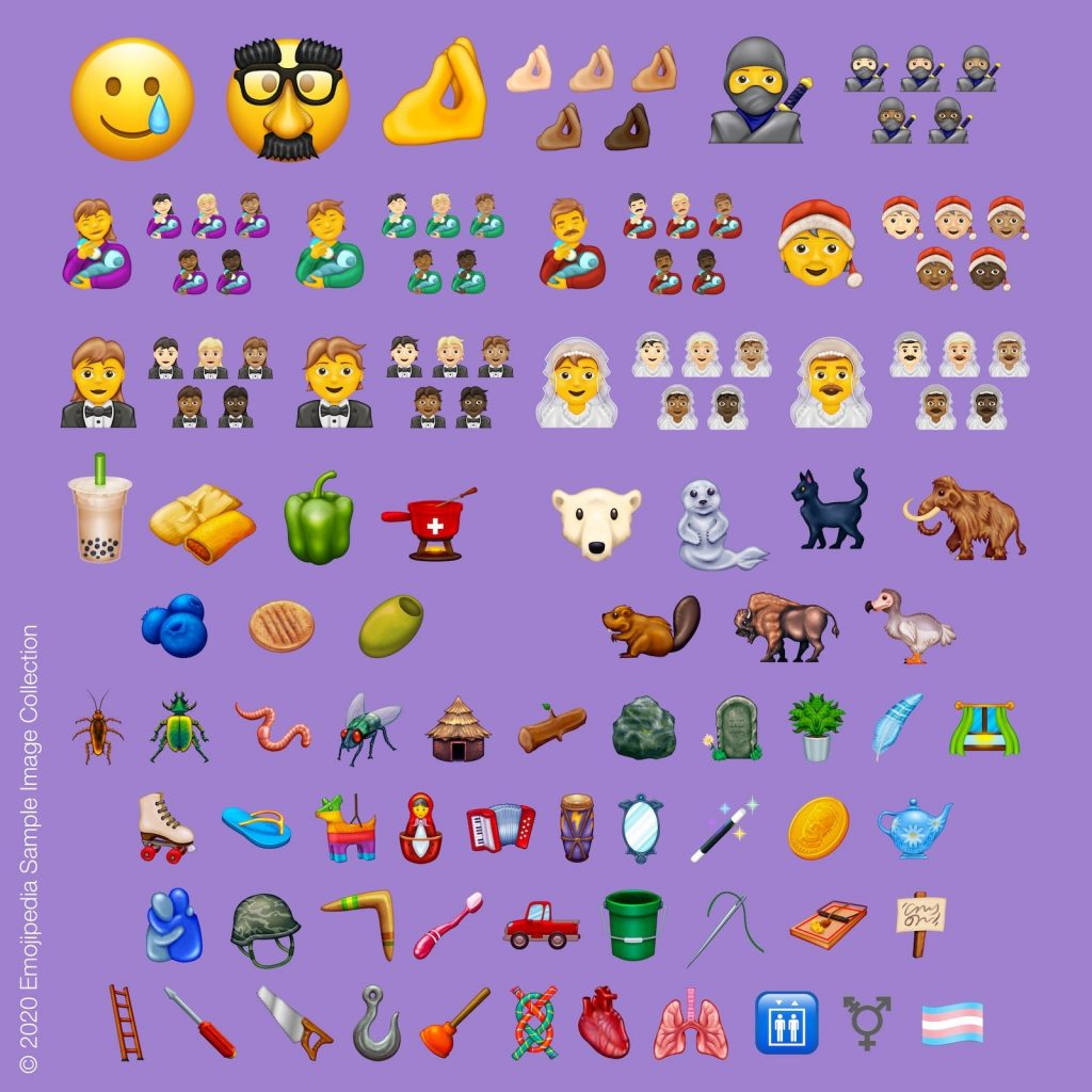 Recopilatorio de los nuevos emoji que Unicode lanza en su versión 13.0, entre los que hay biberones, aceitunas, ninjas ¡y una tetera! ¡Mi favorito!