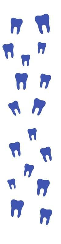 Imagen decorativa de la silueta de varias muelas en color azul. Es una imagen vertical que acompaña la historia de la clínica dental que no tenía Community Manager